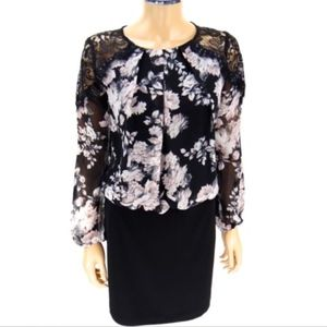 BISOU BISOU Dress Black Lace Lilac Floral Sz 4